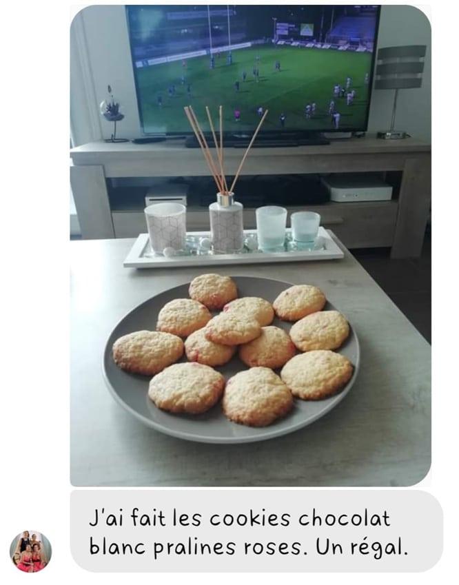 Avis pour un kit de cookies chocolat blanc et pralines roses